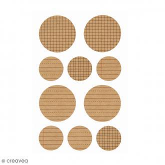 Stickers Kraft - Quadrillé - 2 planches - 40 pcs