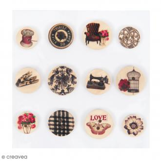 Assortiment de boutons Vintage - Bois - Rouge - 12 pcs