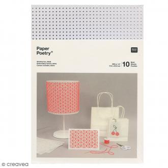 Carton à broder - Blanc - 17,5 x 24,5 cm - 10 pcs
