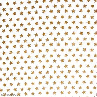Tissu imprimé Etoile - Doré - Par 10 cm (sur mesure)