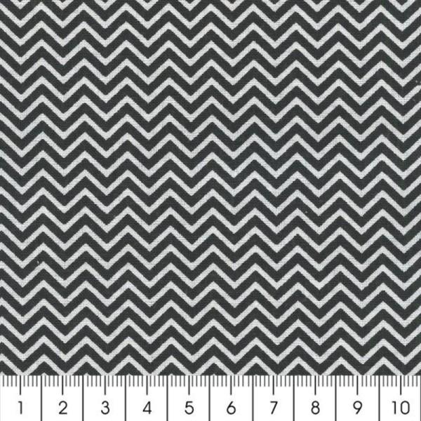 Tissu Zig Zag - Noir - Par 10 cm (sur mesure) - Photo n°2
