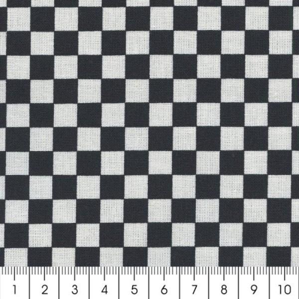 Tissu Damier - Noir - Par 10 cm (sur mesure) - Photo n°2