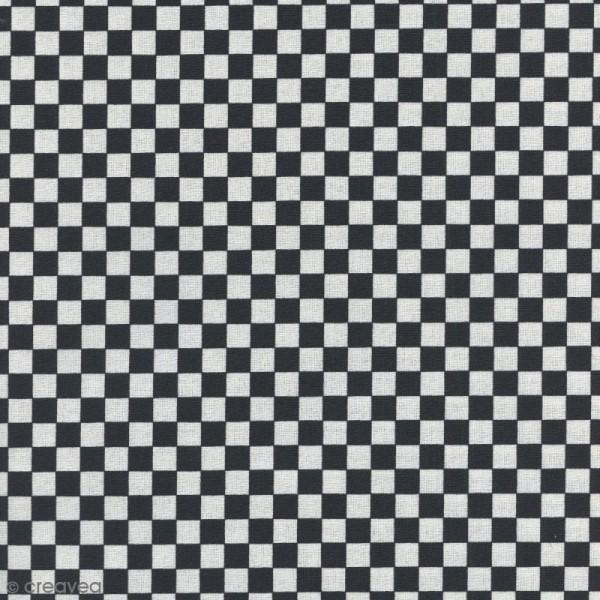 Tissu Damier - Noir - Par 10 cm (sur mesure) - Photo n°1