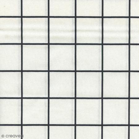 Tissu Carreaux - Noir - Par 10 cm (sur mesure) - Photo n°1