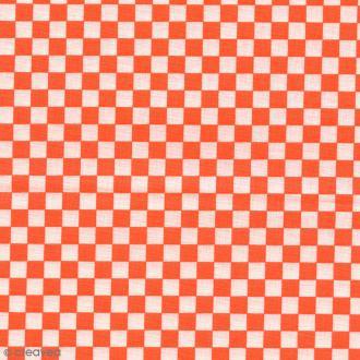 Tissu Damier - Orange fluo - Par 10 cm (sur mesure)