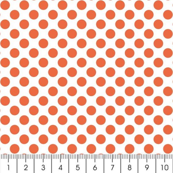 Tissu à Pois - Orange fluo - Par 10 cm (sur mesure) - Photo n°2