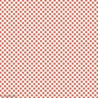 Tissu à Pois - Orange fluo - Par 10 cm (sur mesure)