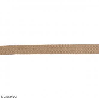 Sangle gros grain polyester - Marron sable - 2,5 cm x 2 m