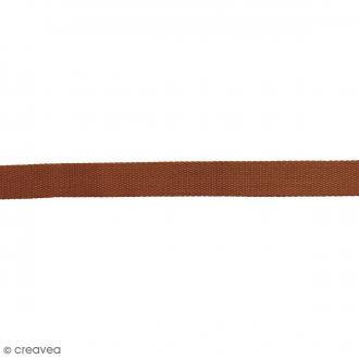 Sangle gros grain polyester - Marron clair - 2,5 cm x 2 m