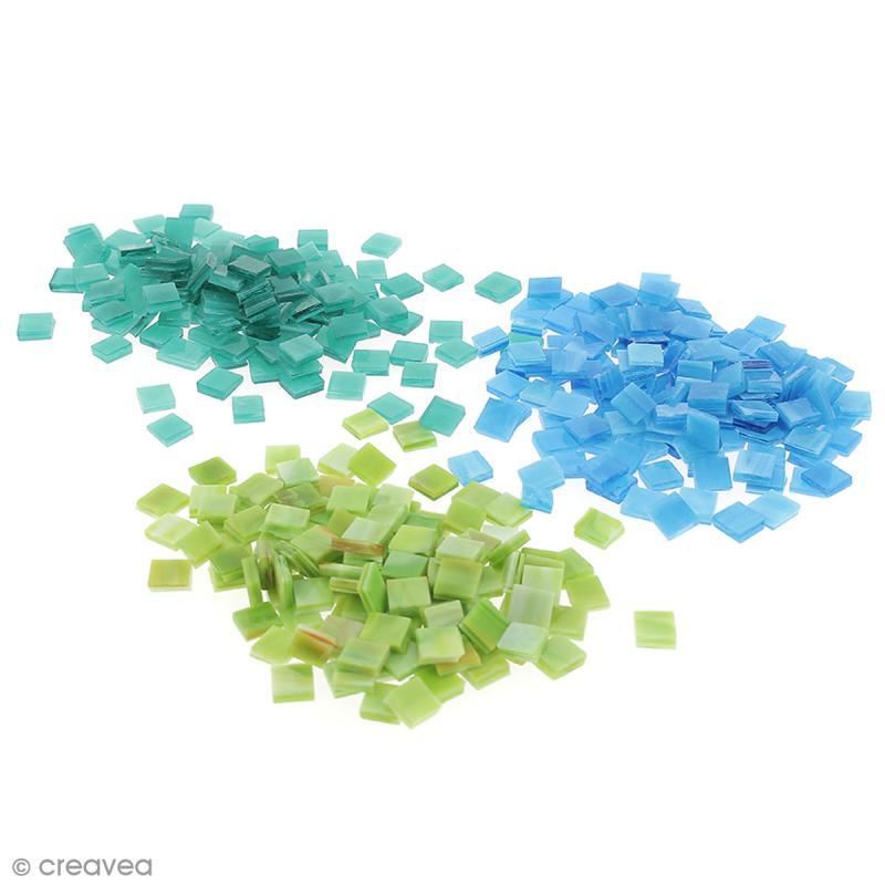 Mosa que tiffany 10 x 10 mm 200 gr de tesselles en verre for Mosaique carrelage verre