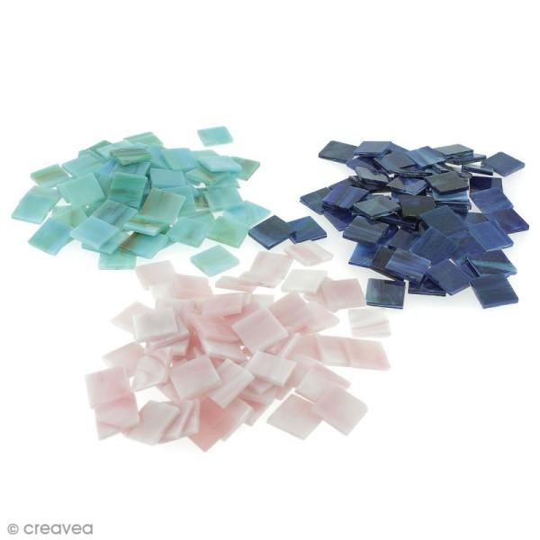 Mosaïque Tiffany 20 x 20 mm - 200 gr de tesselles en verre - 11 coloris - Photo n°1