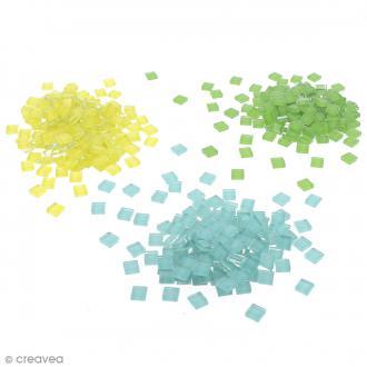 Mosaïque en verre 10 x 10 mm - 185 gr de tesselles - 22 coloris
