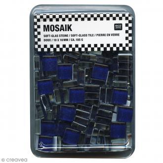 Mosaïque en verre 10 x 10 mm - 185 gr de tesselles Bleu foncé