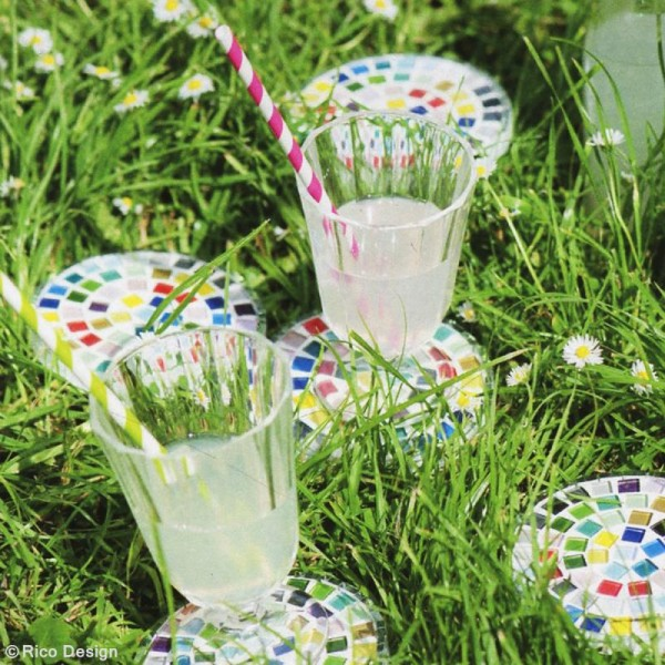 Mosaïque en verre pailleté 10 x 10 mm - 185 gr de tesselles - 11 coloris - Photo n°2