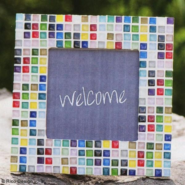 Mosaïque en verre pailleté 10 x 10 mm - 185 gr de tesselles - 11 coloris - Photo n°4
