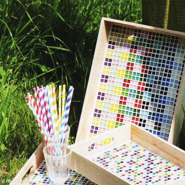 Mosaïque en verre pailleté 10 x 10 mm - 185 gr de tesselles - 11 coloris - Photo n°5