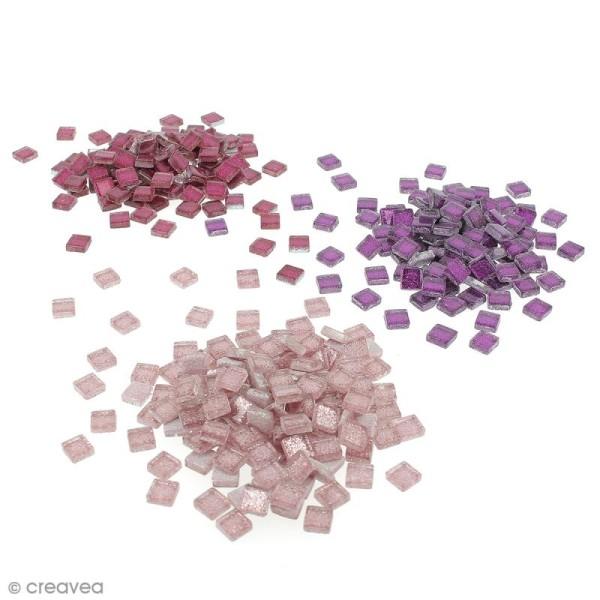 Mosaïque en verre pailleté 10 x 10 mm - 185 gr de tesselles - 11 coloris - Photo n°1