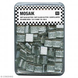 Mosaïque en verre pailleté 10 x 10 mm - 185 gr de tesselles - Argent