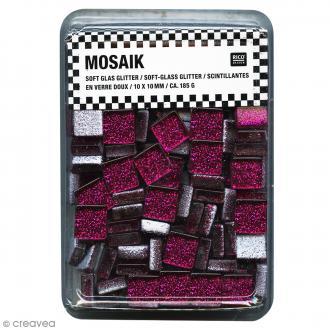 Mosaïque en verre pailleté 10 x 10 mm - 185 gr de tesselles - Rose