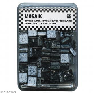 Mosaïque en verre pailleté 10 x 10 mm - 185 gr de tesselles - Noir