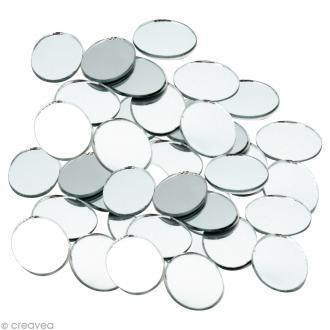 Mosaïque miroir rond 20 mm - 60 tesselles en verre