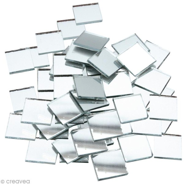 Mosaïque miroir carré 10 mm autocollante - 300 tesselles en verre - Photo n°1