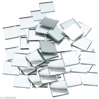 Mosaïque miroir carré 10 mm autocollante - 300 tesselles en verre