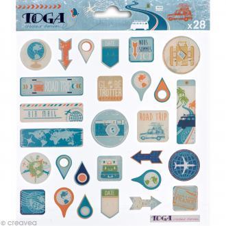 Stickers Globe trotter - 1 planche 15 x 15 cm - 28 autocollants époxy