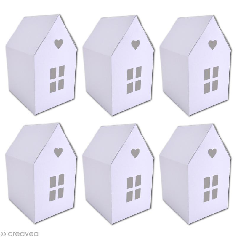 Maisonnette en papier blanc à monter et décorer - 6 pcs - Photo n°2