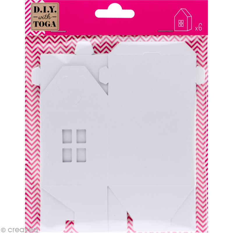 Maisonnette en papier blanc à monter et décorer - 6 pcs - Photo n°1