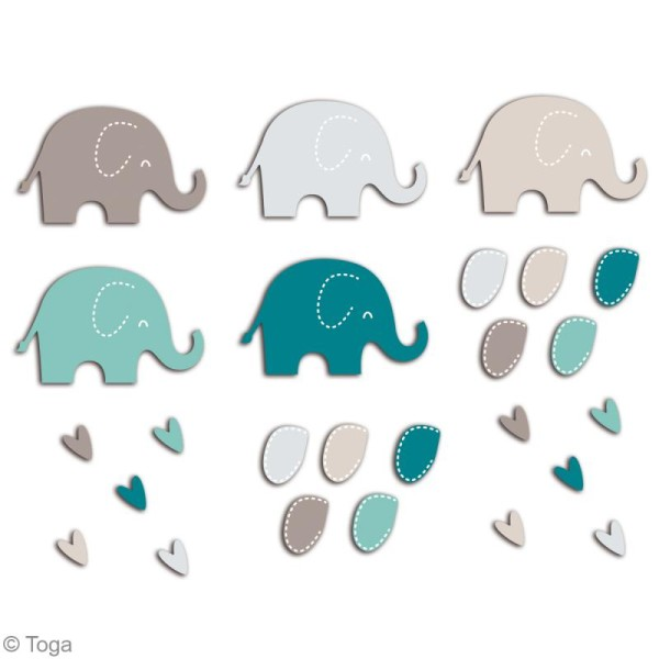 Die cuts à assembler - Color factory - Eléphant Bleu et taupe - 20 formes en papier - Photo n°2