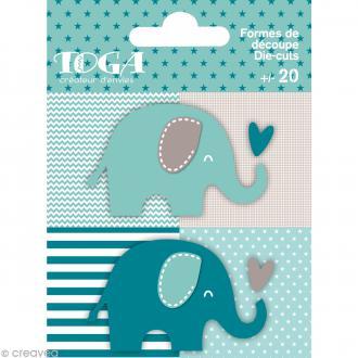 Die cuts à assembler - Color factory - Eléphant Bleu et taupe - 20 formes en papier