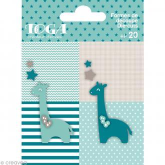 Die cuts à assembler - Color factory - Girafe Bleu et taupe - 20 formes en papier