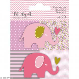 Die cuts à assembler - Color factory - Eléphant Rose Vert et taupe - 20 formes en papier