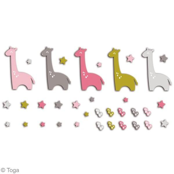 Die cuts à assembler - Color factory - Girafe Rose Vert et taupe - 20 formes en papier - Photo n°2