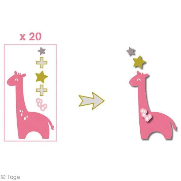 Die cuts à assembler - Color factory - Girafe Rose Vert et taupe - 20 formes en papier - Photo n°3