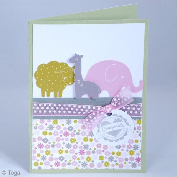 Die cuts à assembler - Color factory - Girafe Rose Vert et taupe - 20 formes en papier - Photo n°6