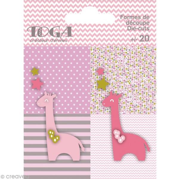 Die cuts à assembler - Color factory - Girafe Rose Vert et taupe - 20 formes en papier - Photo n°1