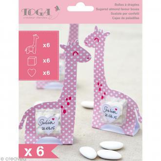 Boîte à dragées baptême fille - Color factory - Girafe rose - 6 pcs