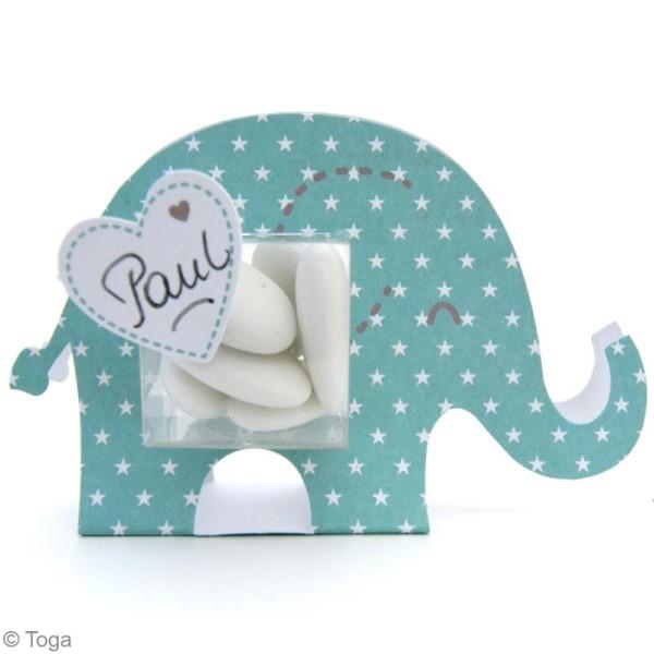 Boîte à dragées baptême garçon - Color factory - Eléphant bleu - 6 pcs - Photo n°2