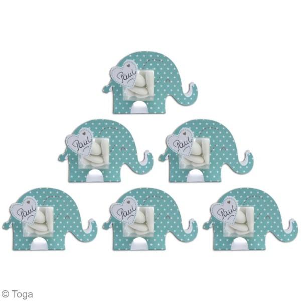 Boîte à dragées baptême garçon - Color factory - Eléphant bleu - 6 pcs - Photo n°4
