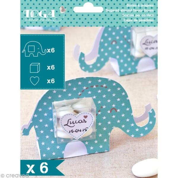 Boîte à dragées baptême garçon - Color factory - Eléphant bleu - 6 pcs - Photo n°1