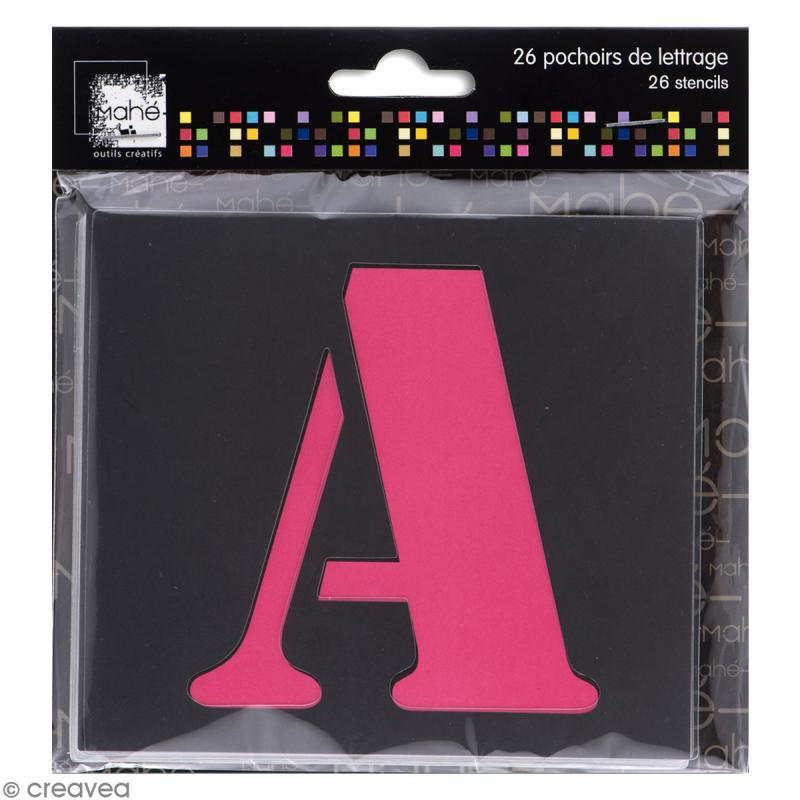 pochoir lettre majuscule alphabet 5 cm 26 pcs pochoir alphabet creavea. Black Bedroom Furniture Sets. Home Design Ideas