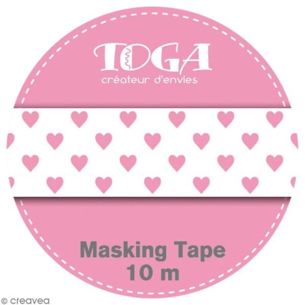 Masking tape Toga - Color factory naissance - Coeurs roses - 10 mètres - Photo n°2