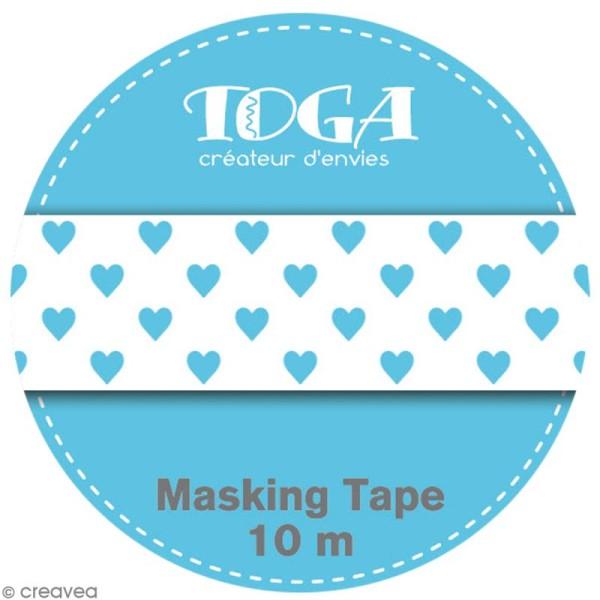 Masking tape Toga - Color factory naissance - Coeurs bleus - 10 mètres - Photo n°2