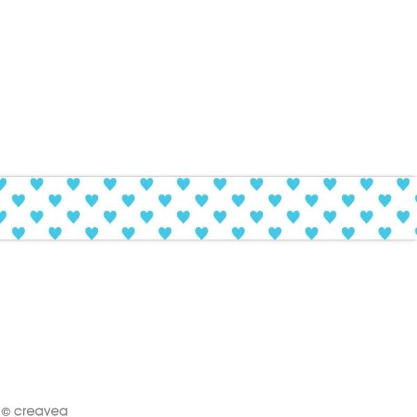 Masking tape Toga - Color factory naissance - Coeurs bleus - 10 mètres - Photo n°1