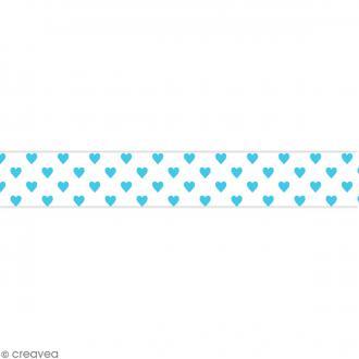 Masking tape Toga - Color factory naissance - Coeurs bleus - 10 mètres