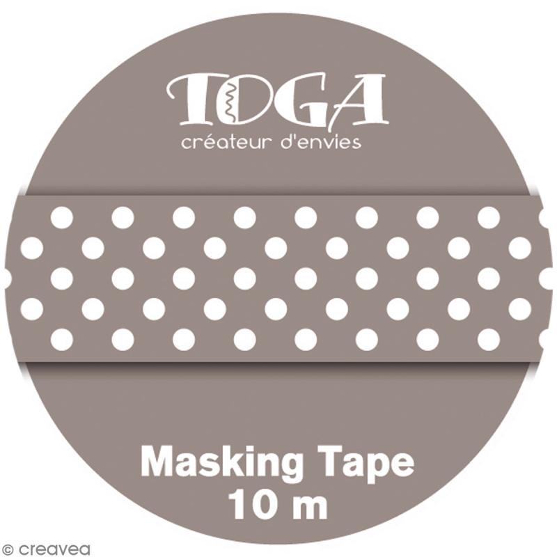 Masking tape Toga - Color factory naissance - Pois taupe - 10 mètres - Photo n°2