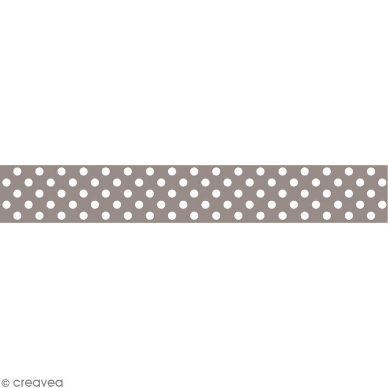 Masking tape Toga - Color factory naissance - Pois taupe - 10 mètres - Photo n°1