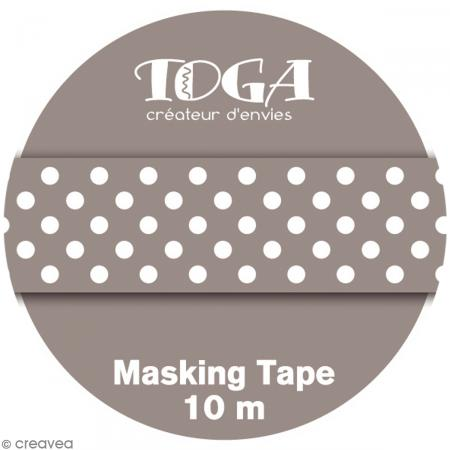 Masking tape Toga - Color factory naissance - Pois taupe - 10 mètres - Photo n°2